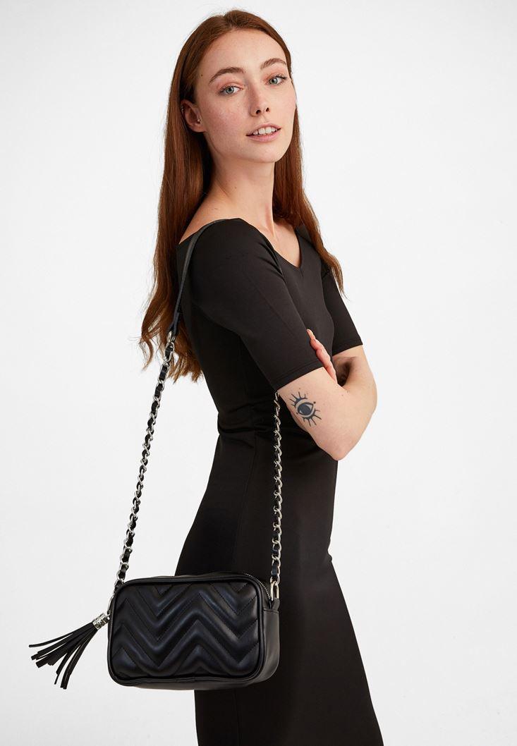 Black Mini Shoulder Bag with Fringe