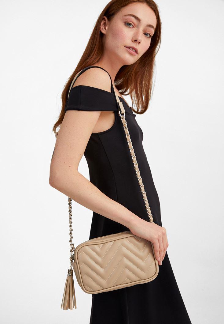Cream Mini Shoulder Bag with Fringe
