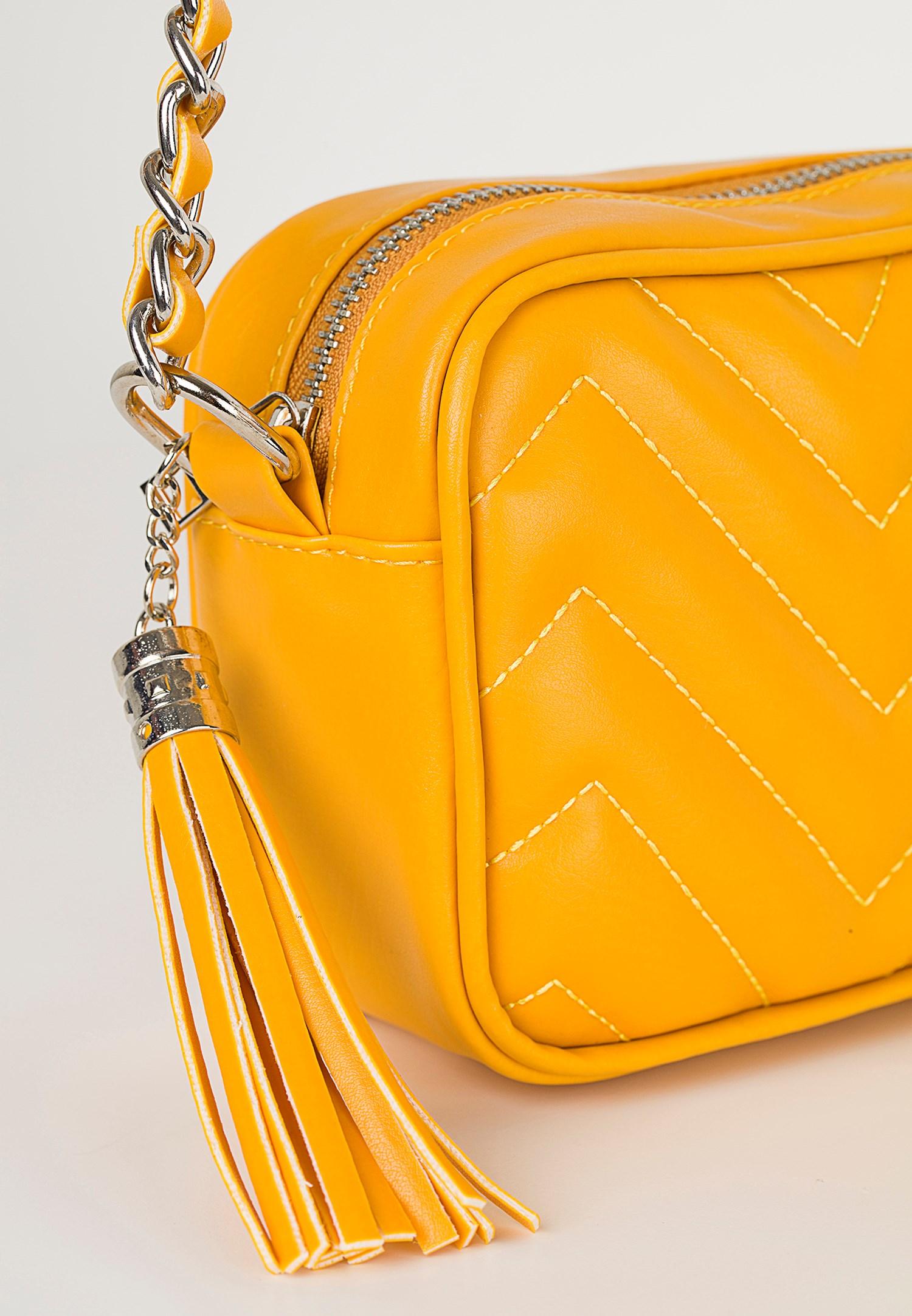 Bayan Sarı Nakış Detaylı Kol Çantası