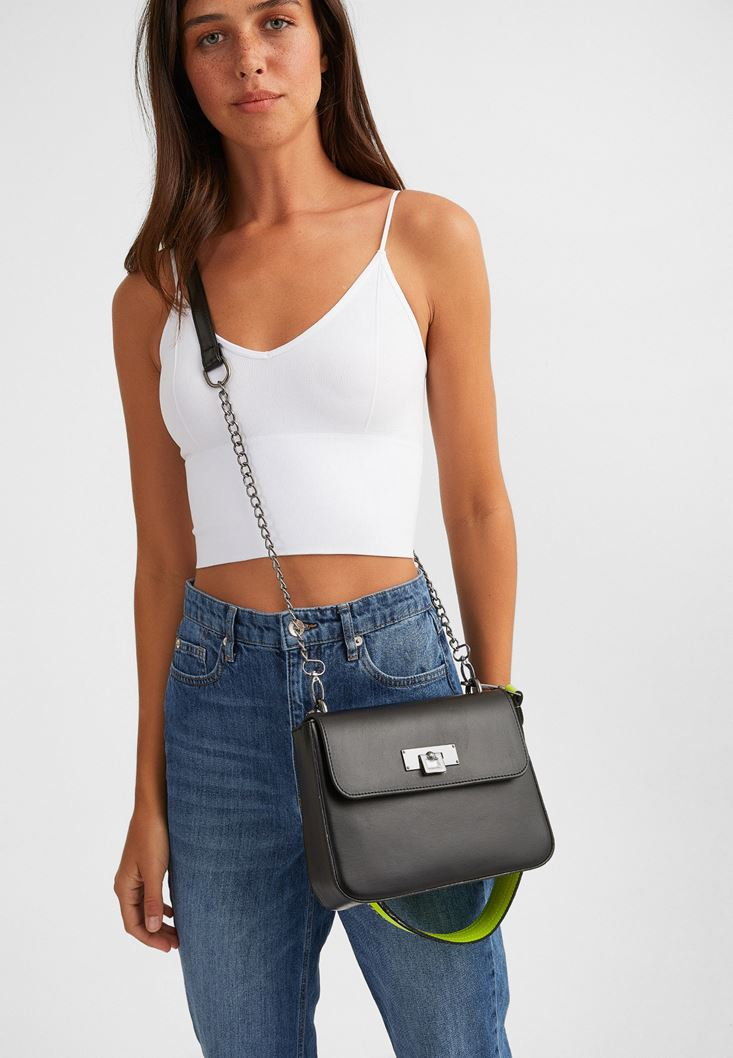 Black Shoulder Bag with Neon Details