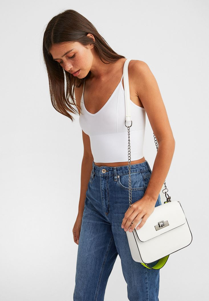 White Shoulder Bag with Neon Details