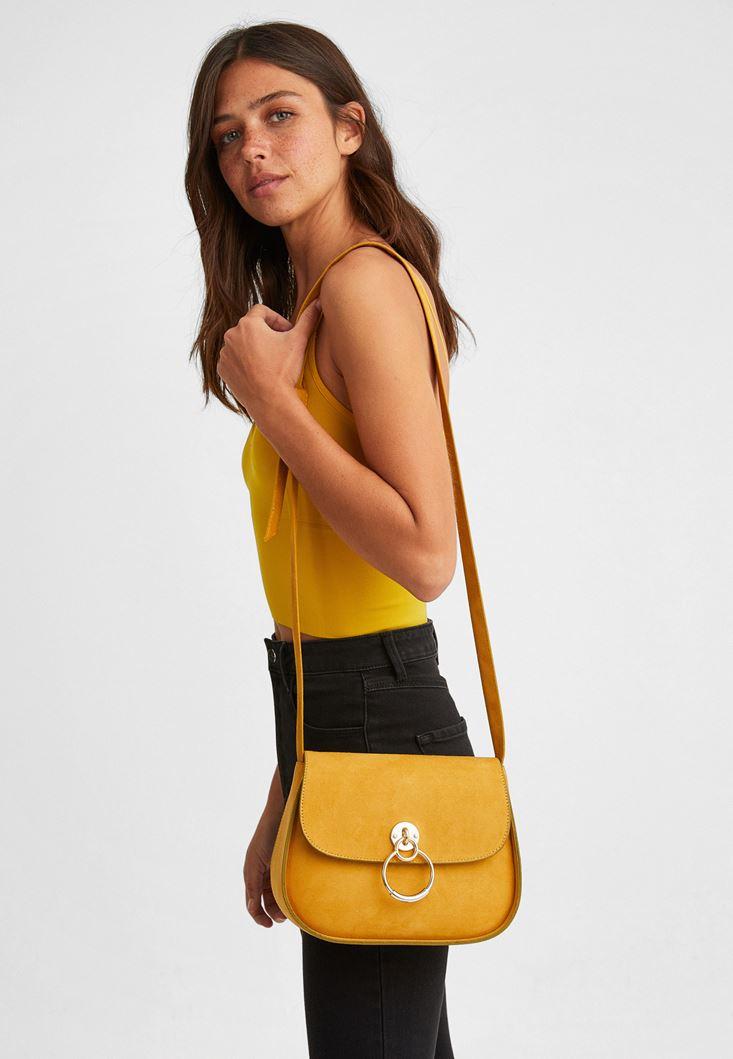 Yellow Suede Crossbody Bag