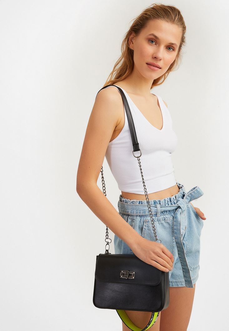 Black Shoulder Bag with Neon Holder