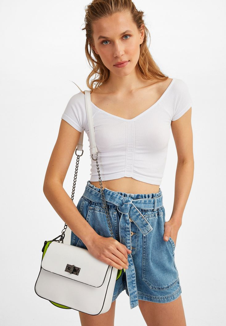 White Shoulder Bag with Neon Holder