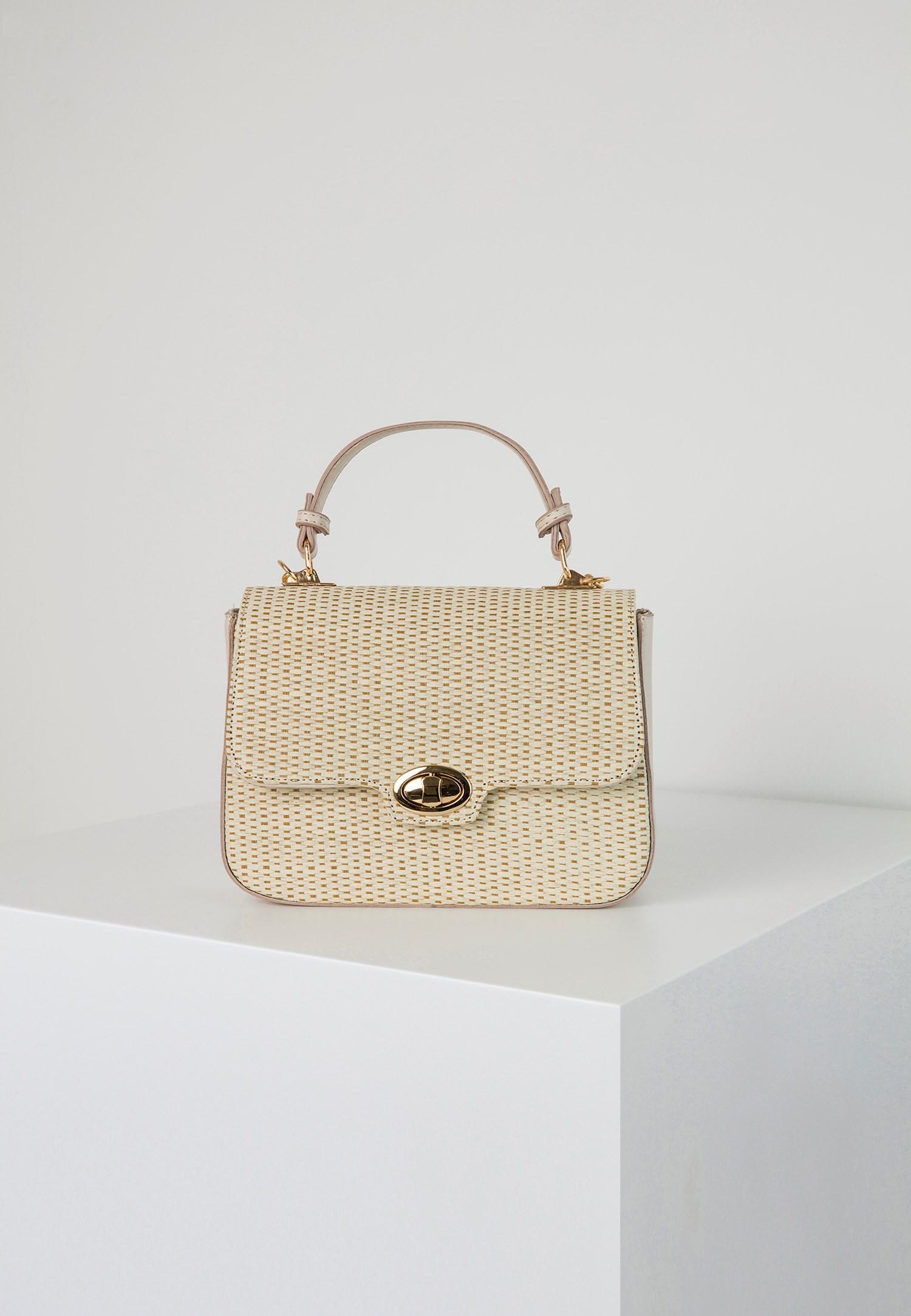 Bayan Krem Hasır Görünümlü Askılı Çanta