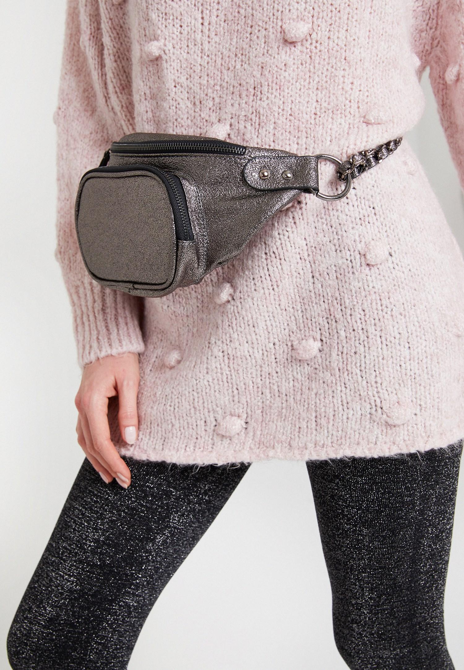 Women Grey Shiny Belt Bag