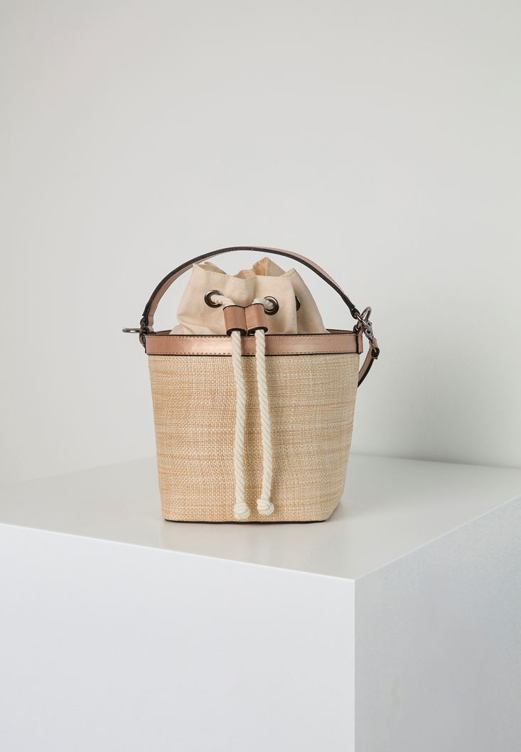 Pink Straw Bucket Bag