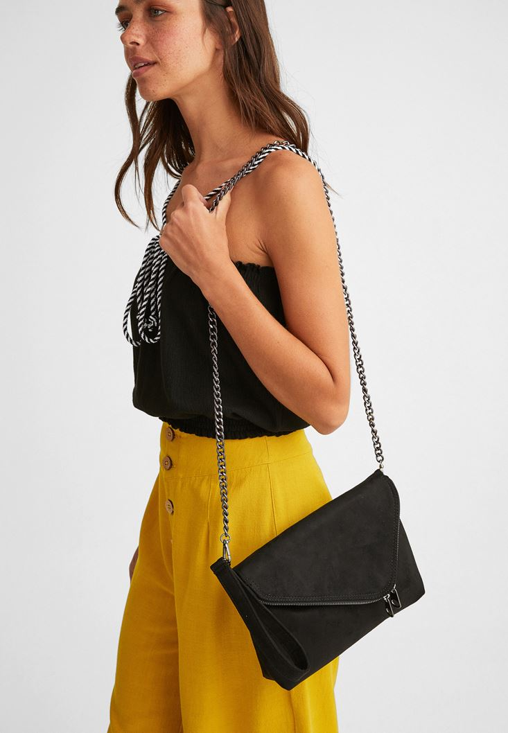 Black Suede Bag with Zipper Detail