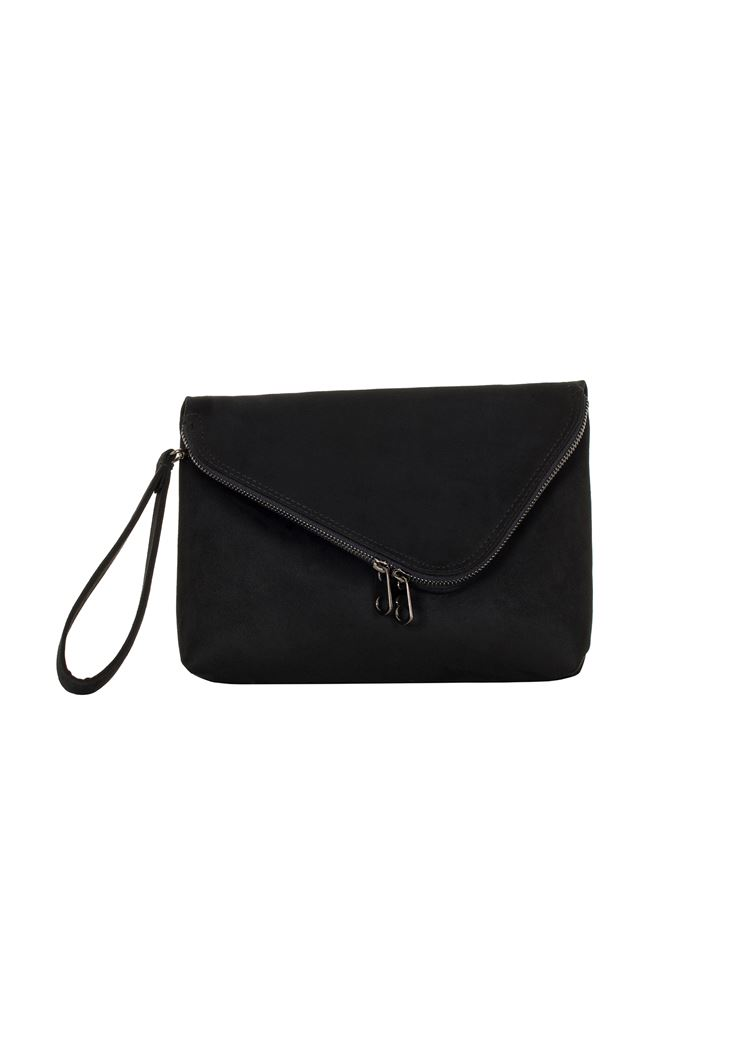 Suede Bag with Zipper Detail
