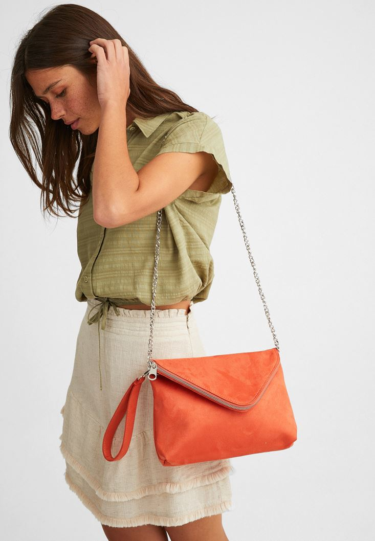 Orange Suede Bag with Zipper Detail