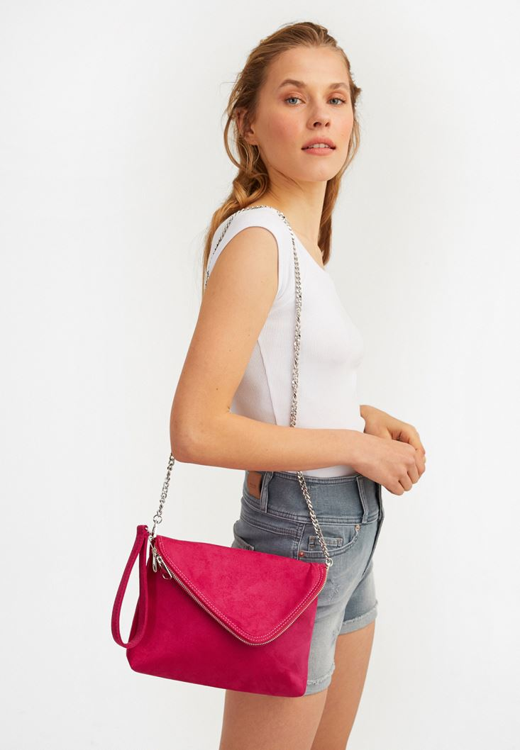 Pink Suede Bag with Zipper Detail