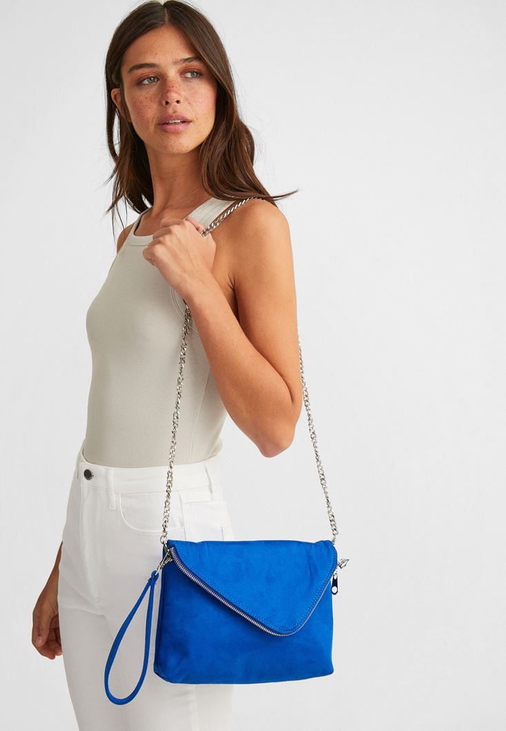 Blue Suede Bag with Zipper Detail
