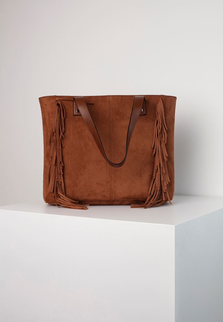 Brown Tote Bag with Fringe Details