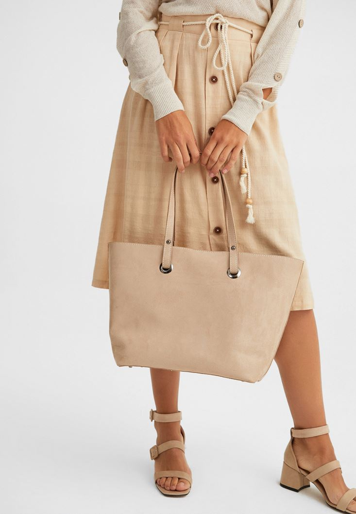 Cream Tote Bag with Pocket