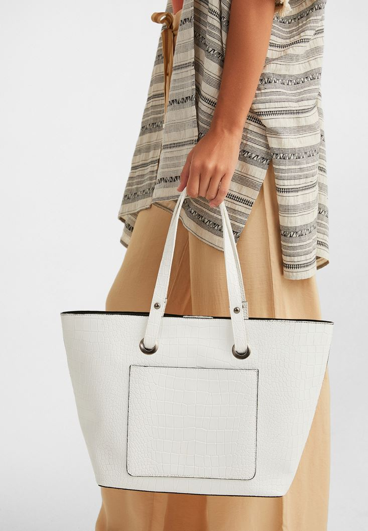 White Tote Bag with Pocket