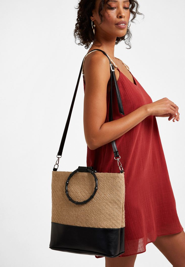 Black Straw Shoulder Bag