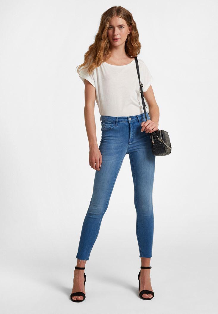 Mavi Orta Bel Dar Paça Pantolon