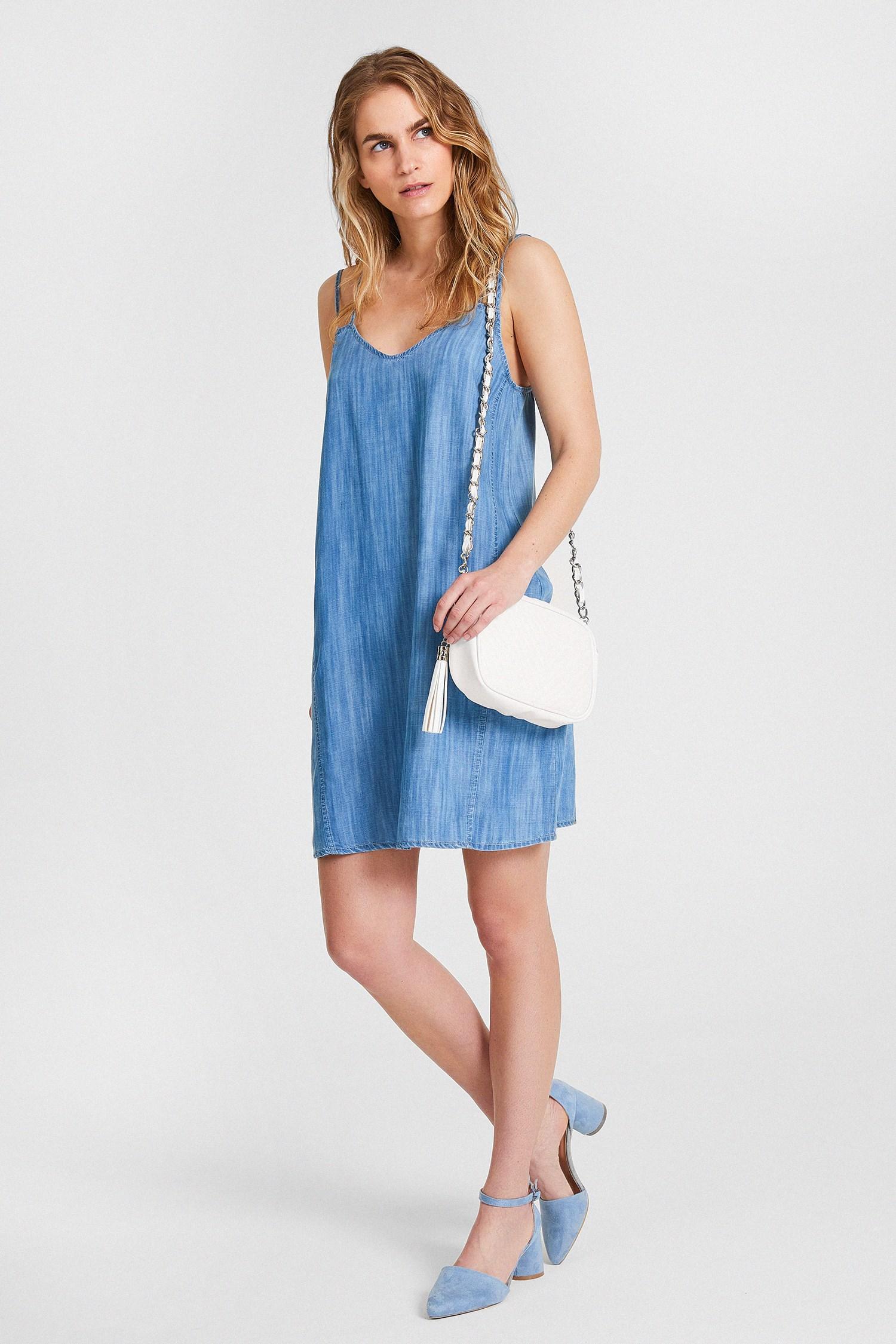 Bayan Mavi İnce Askılı Denim Elbise