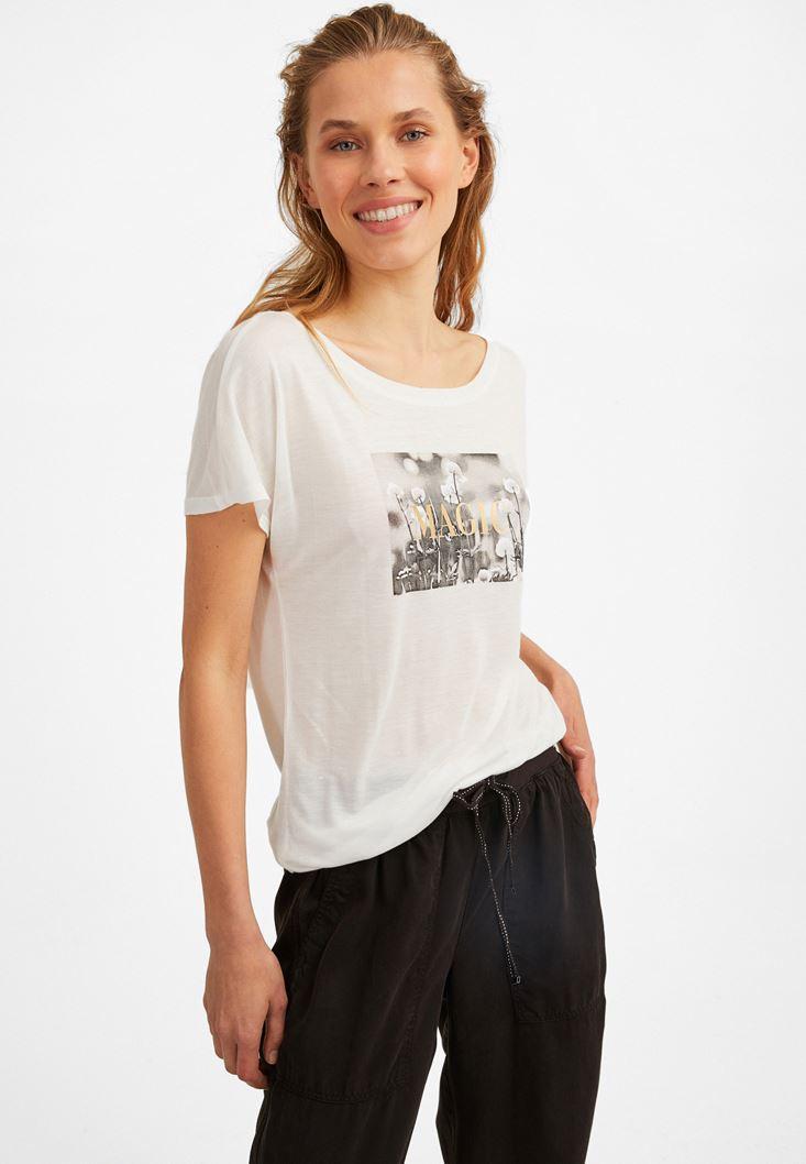 Cream Printed T-Shirt