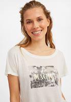 Bayan Krem Yumuşak Dokulu Baskılı Tişört