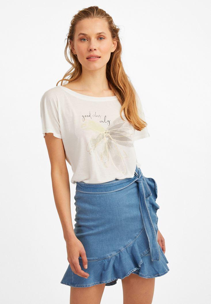 Cream Printed Long T-Shirt