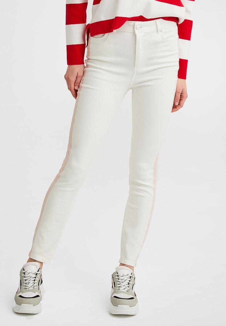 Krem Yanları Şeritli Boru Paça Pantolon