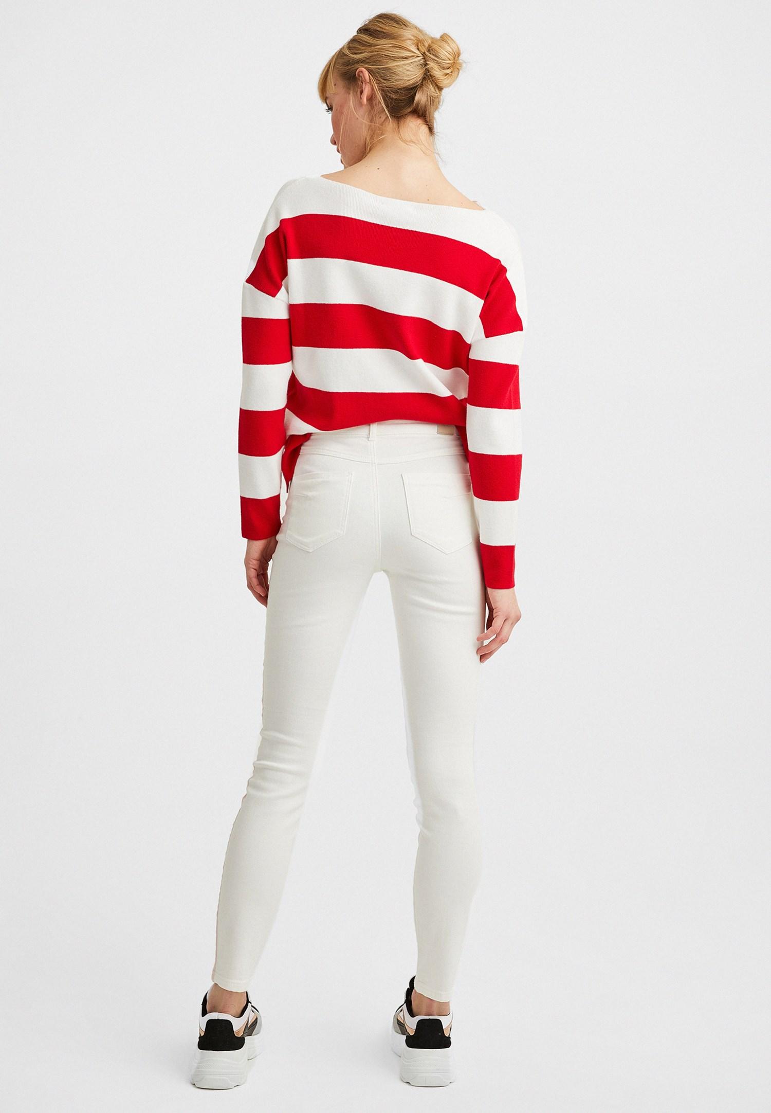 Bayan Krem Yanları Şeritli Boru Paça Pantolon