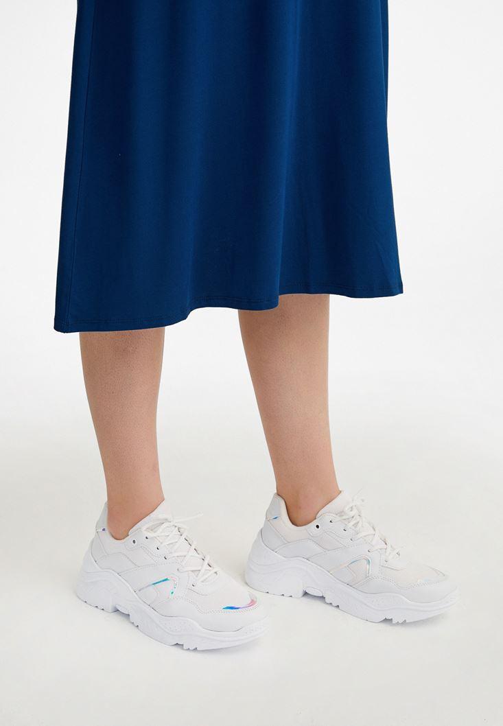 Beyaz Kalın Tabanlı Sneaker