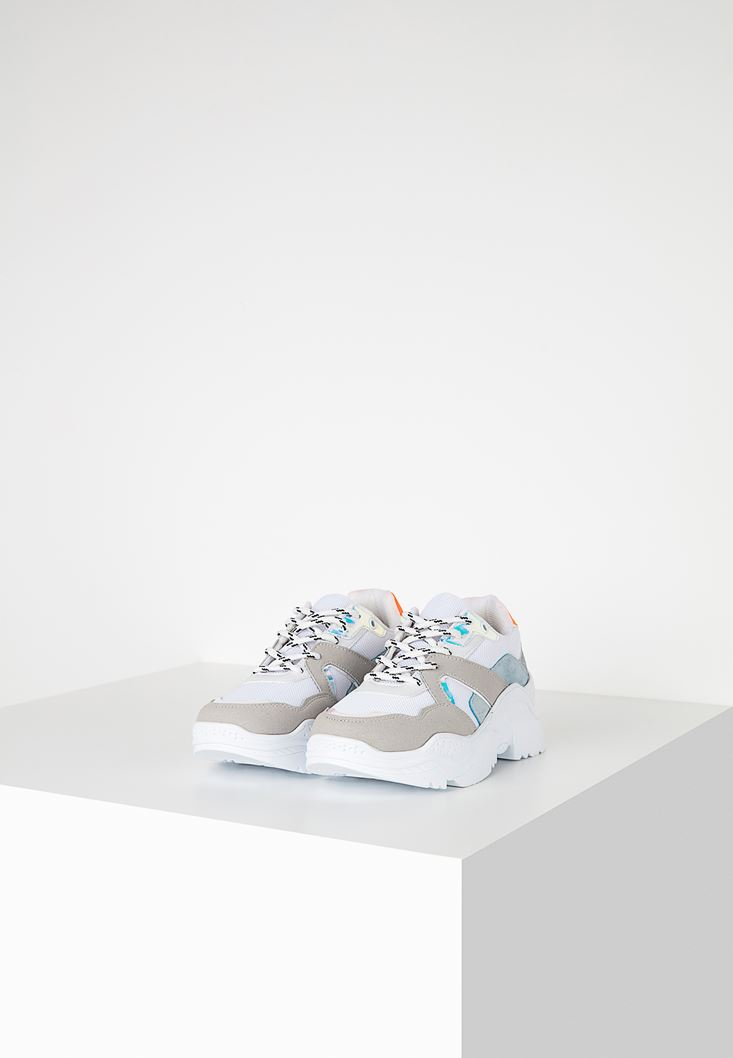 Mixed Sneakers with Iridescant Details