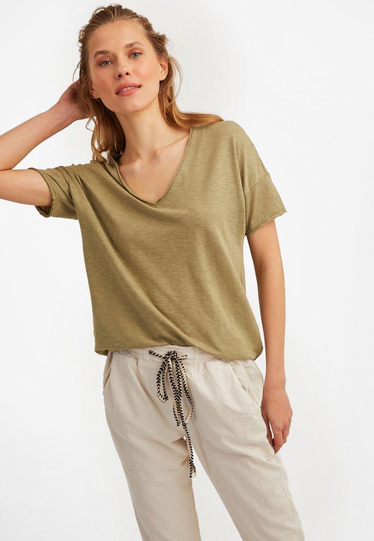 Yeşil V Yaka Uzun Tişört