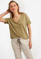 Bayan Yeşil V Yaka Uzun Tişört