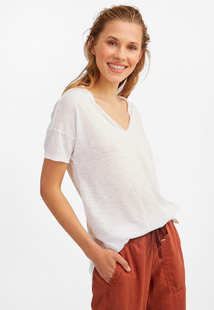 White V-Neck Long T-Shirt