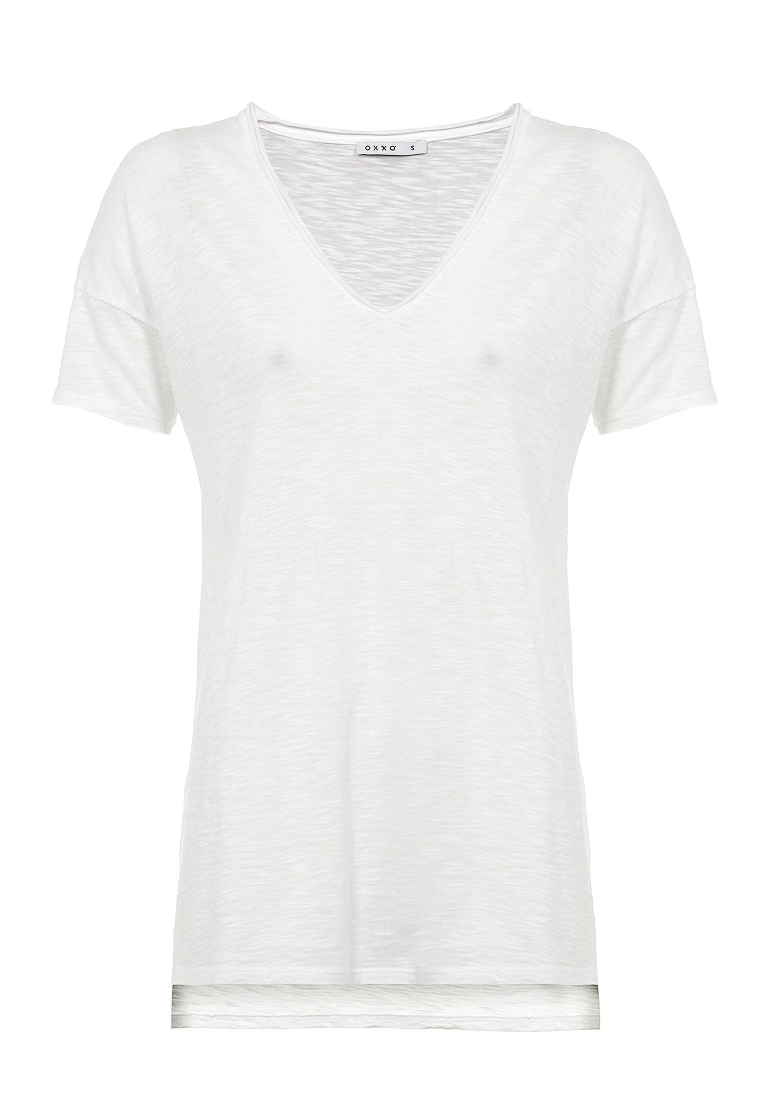 Bayan Beyaz V Yaka Uzun Tişört