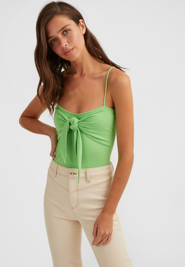 Green Tie Detailed Top