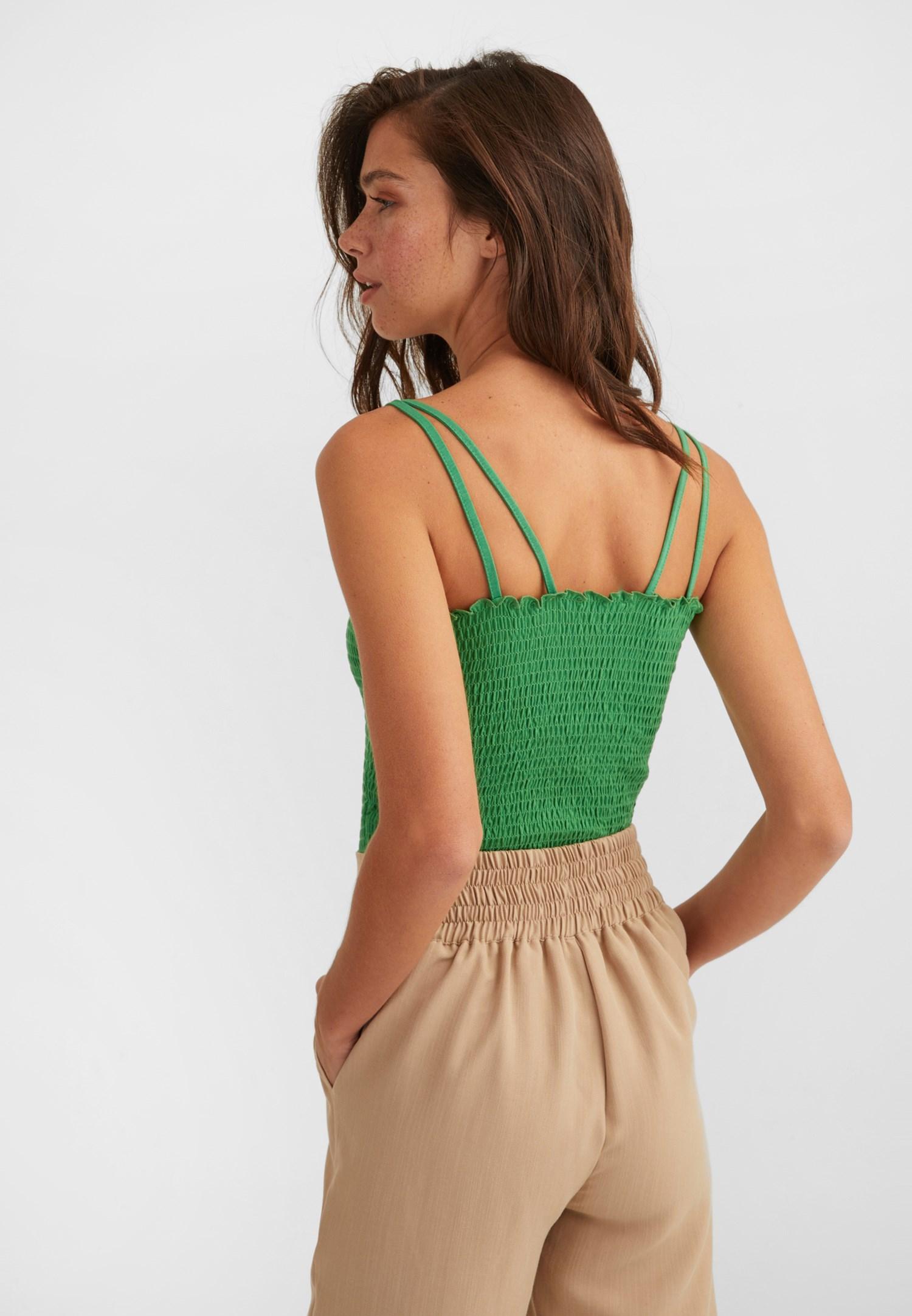 Bayan Yeşil İnce Askılı Gipeli Bluz