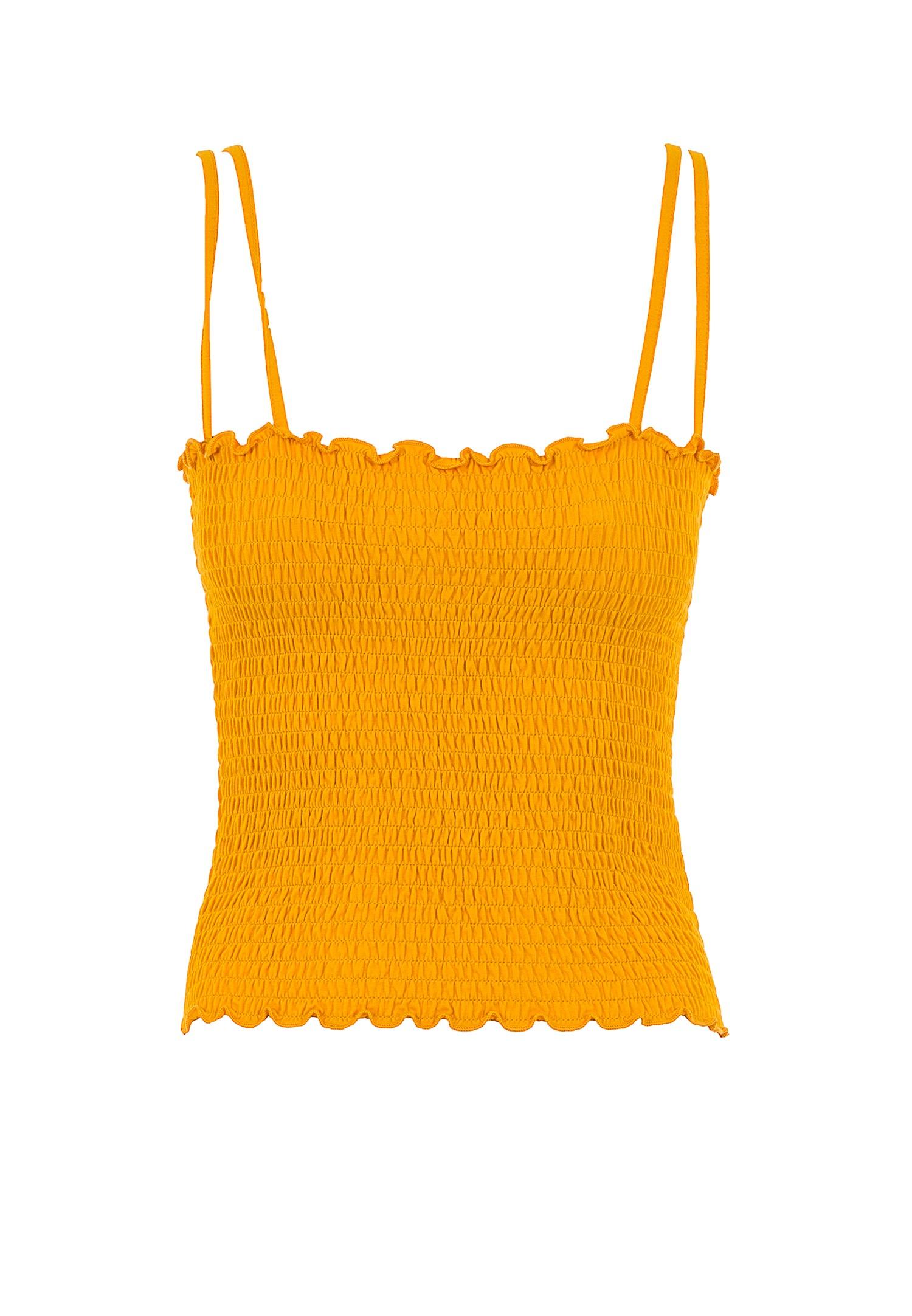 Bayan Sarı İnce Askılı Gipeli Bluz
