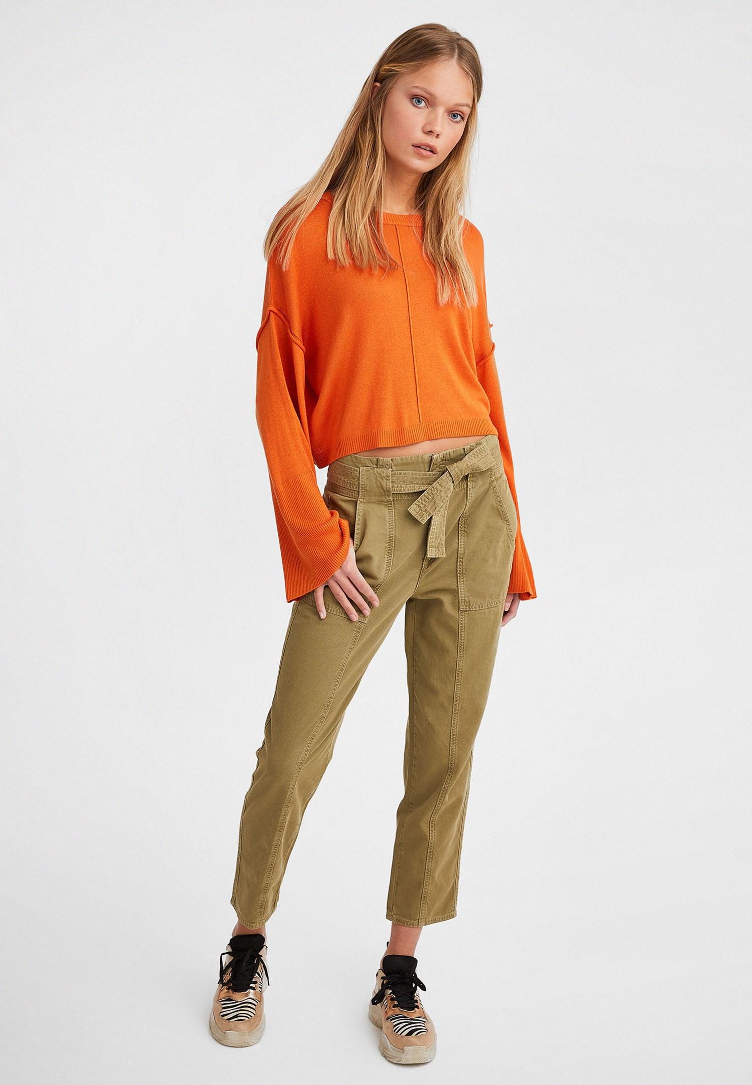 Bayan Yeşil Kuşaklı Kargo Pantolon