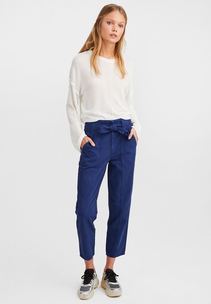 Mavi Kuşaklı Kargo Pantolon