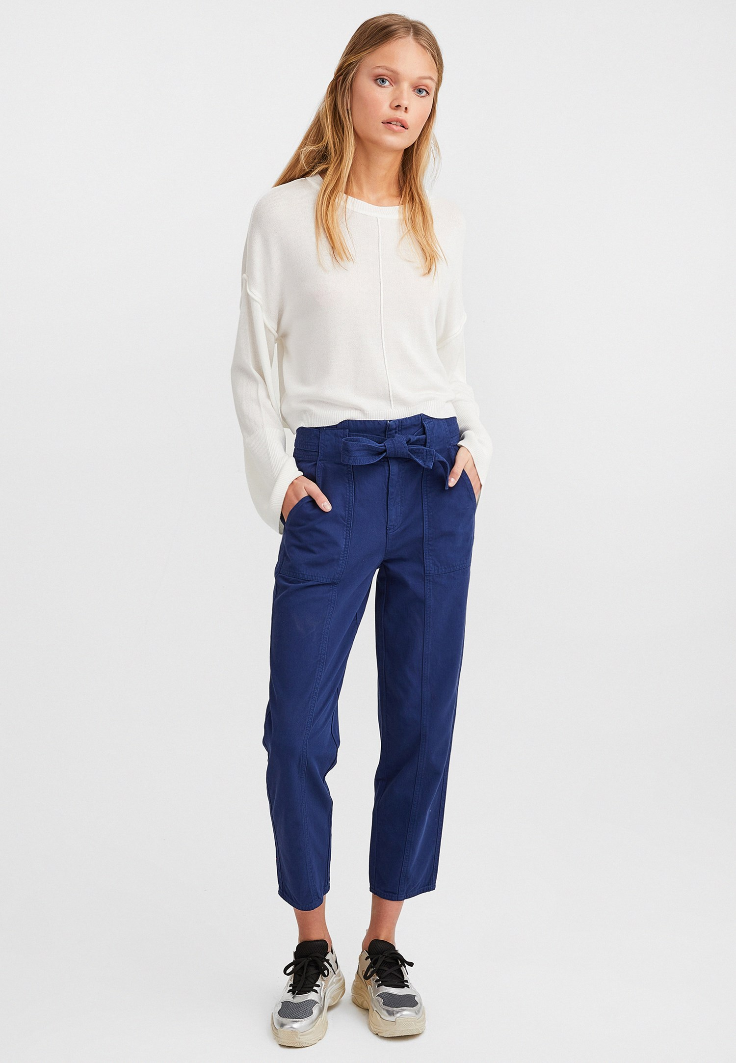 Bayan Mavi Kuşaklı Kargo Pantolon