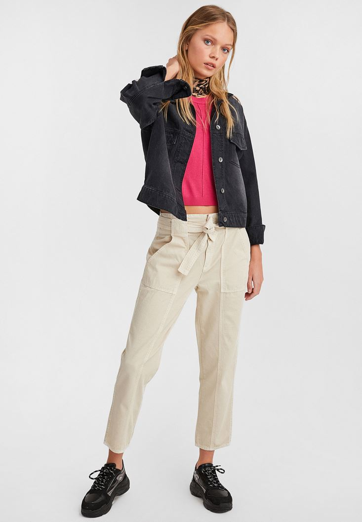 Cream Belted Cargo Pants