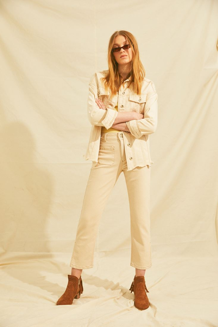 Cream High Rise Crop Straight Trousers