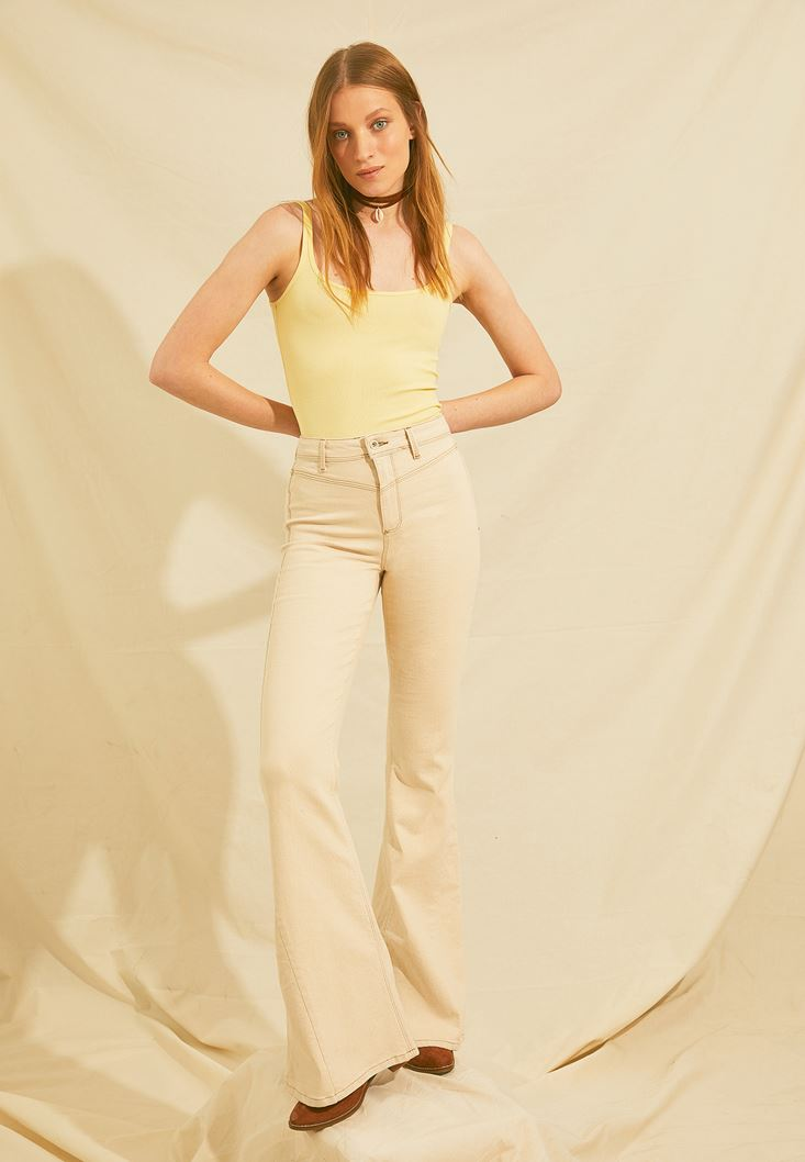 Cream High Rise Flare Leg Trousers
