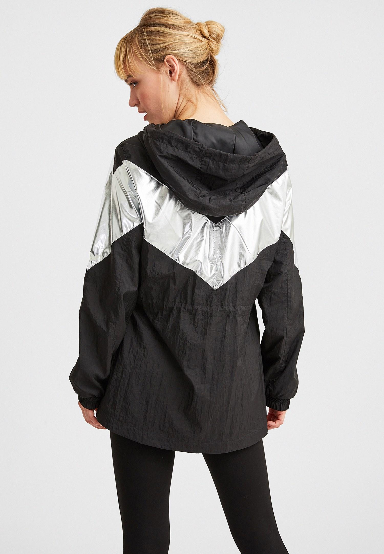 Bayan Siyah Blok Renkli Ceket