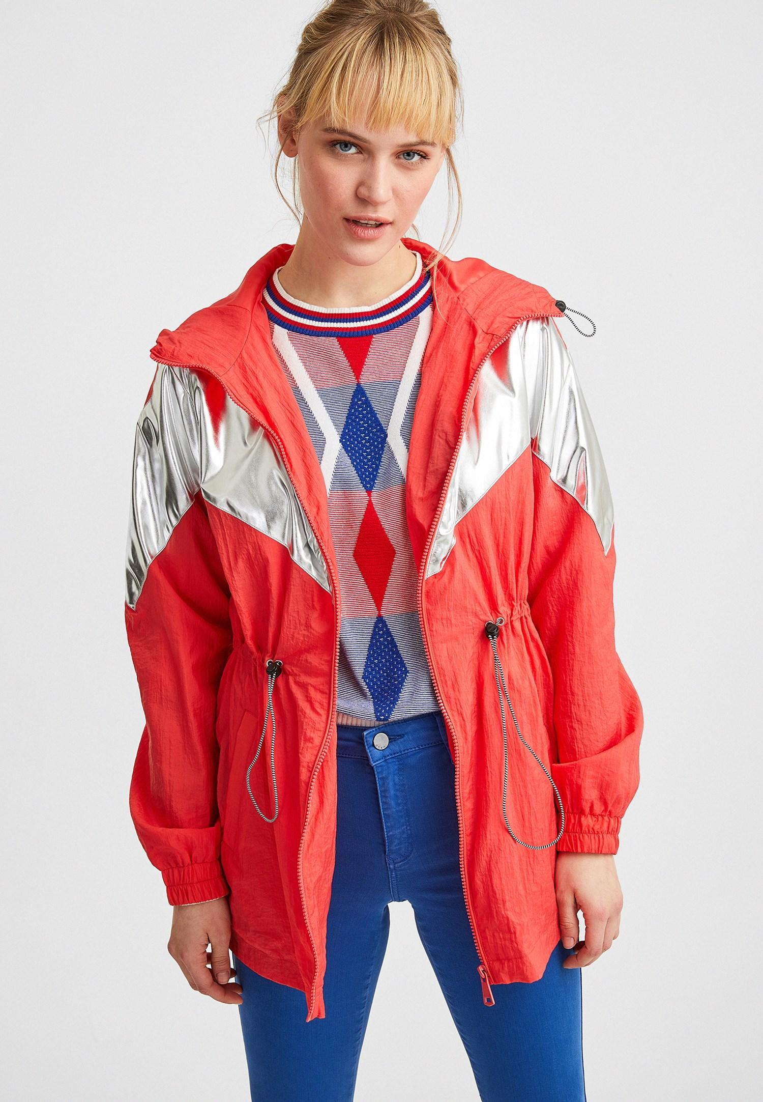 Bayan Turuncu Blok Renkli Ceket