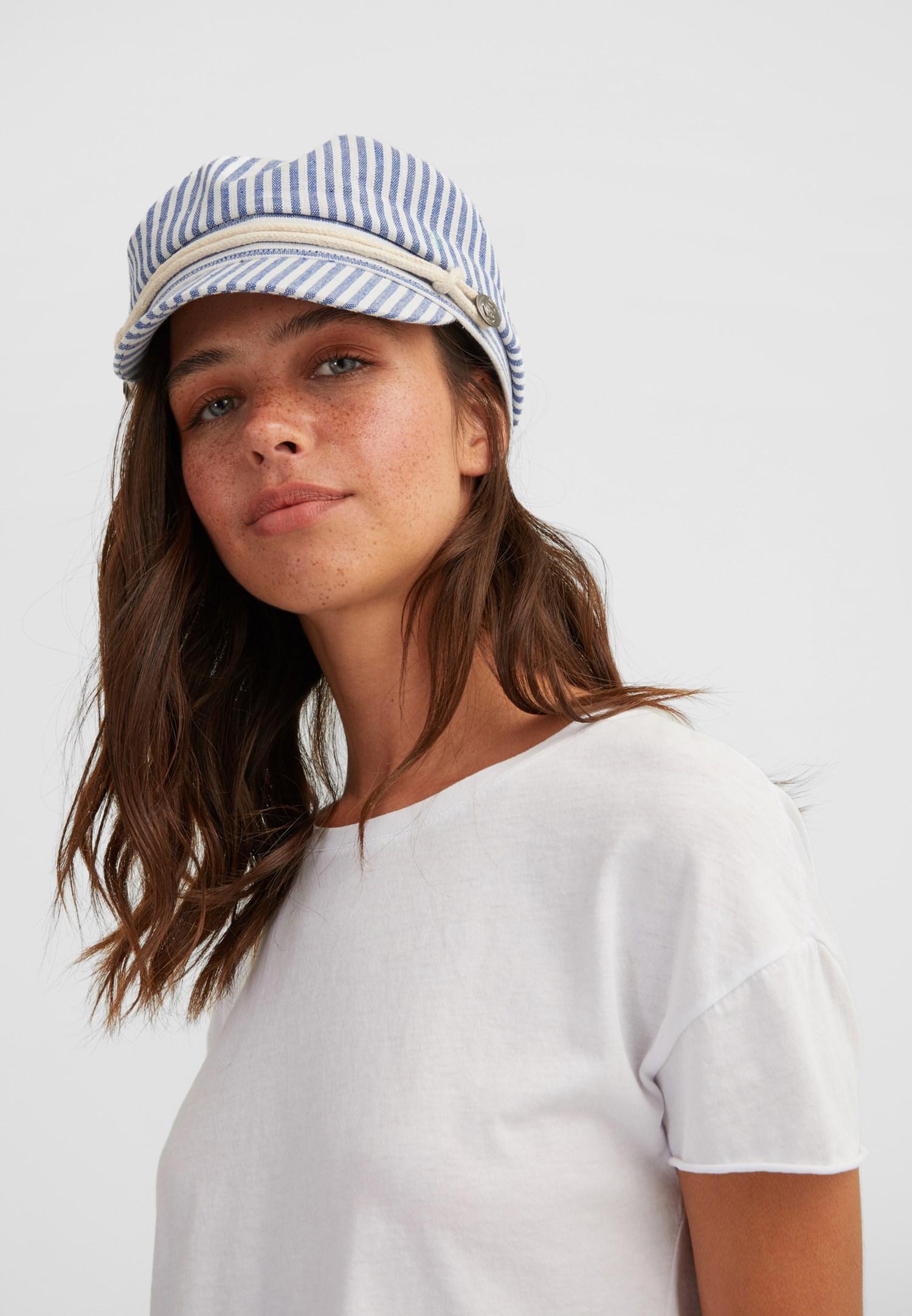 Bayan Mavi Çizgili Şapka
