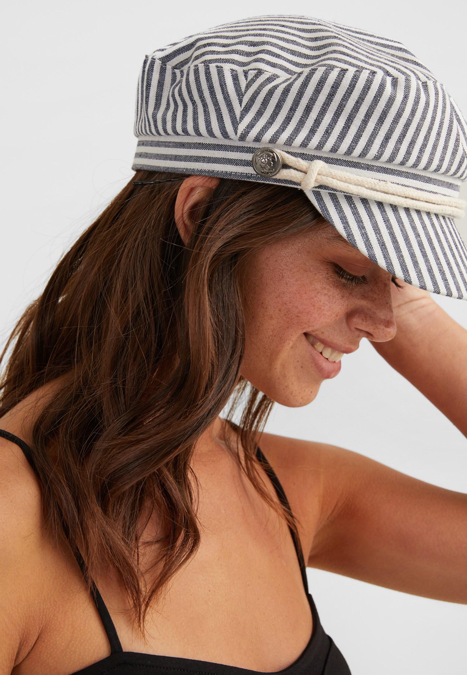 Bayan Gri Çizgili Şapka