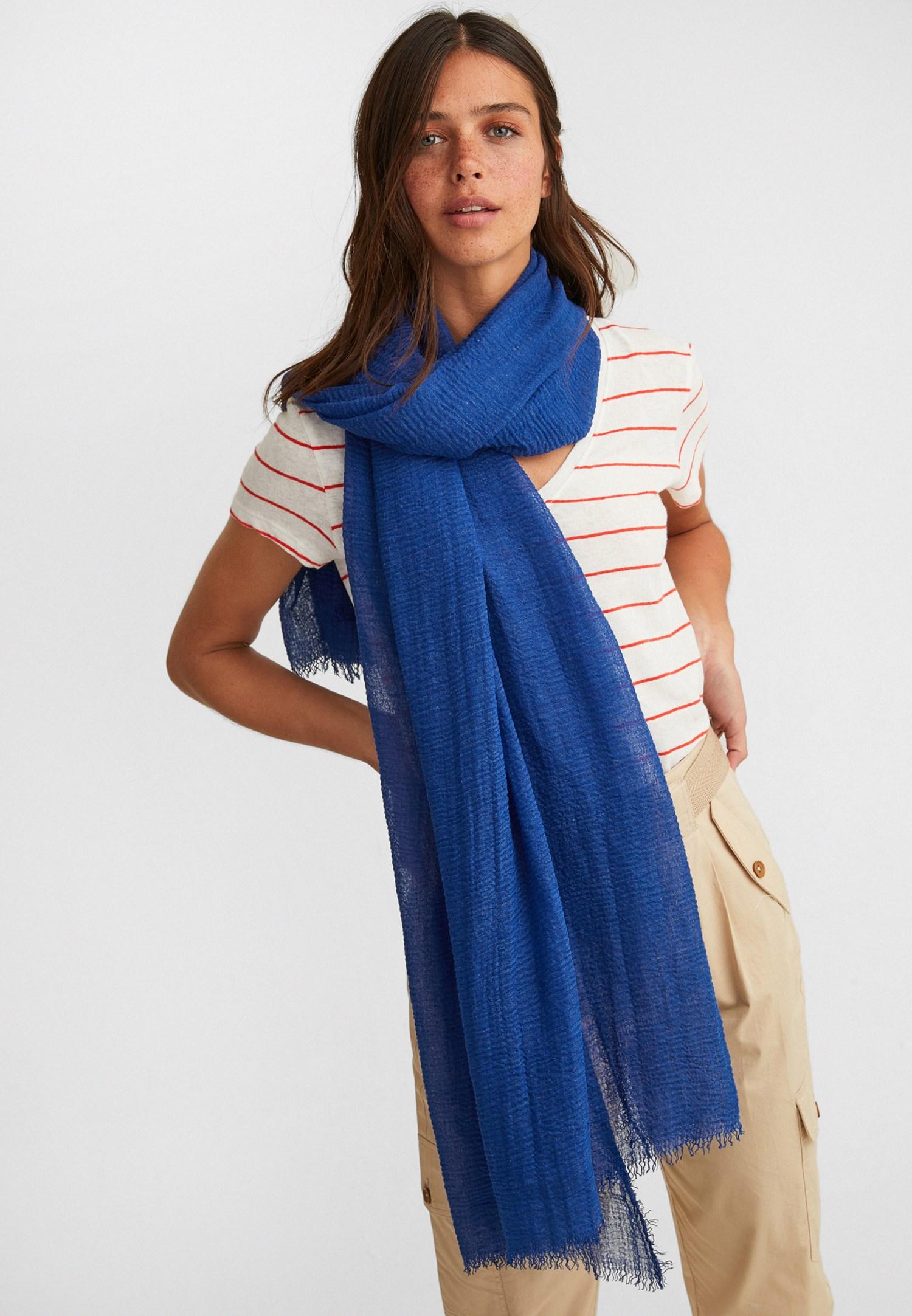 Bayan Mavi Uzun Şal
