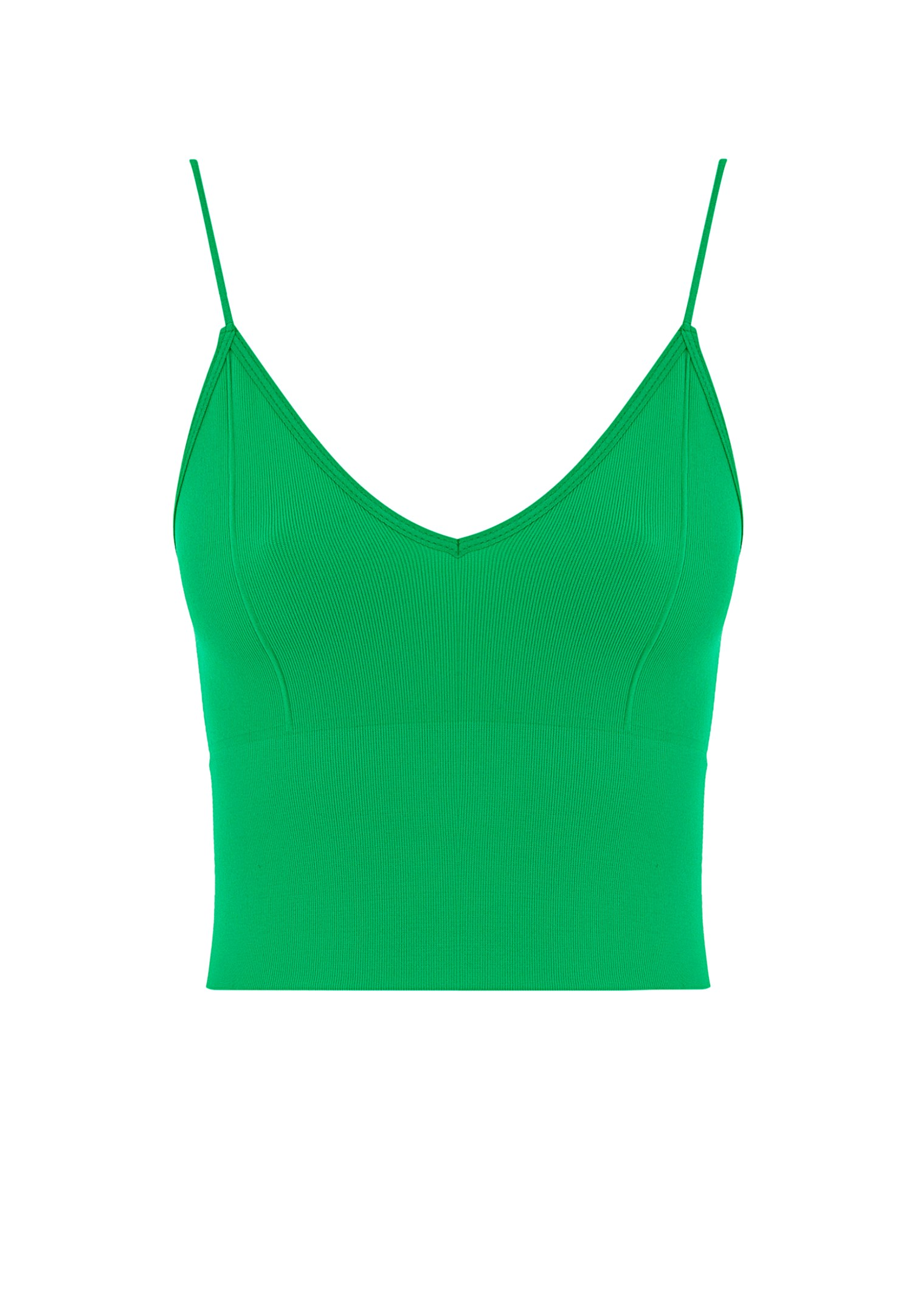 Women Green Seamless Crop Top with V Neck