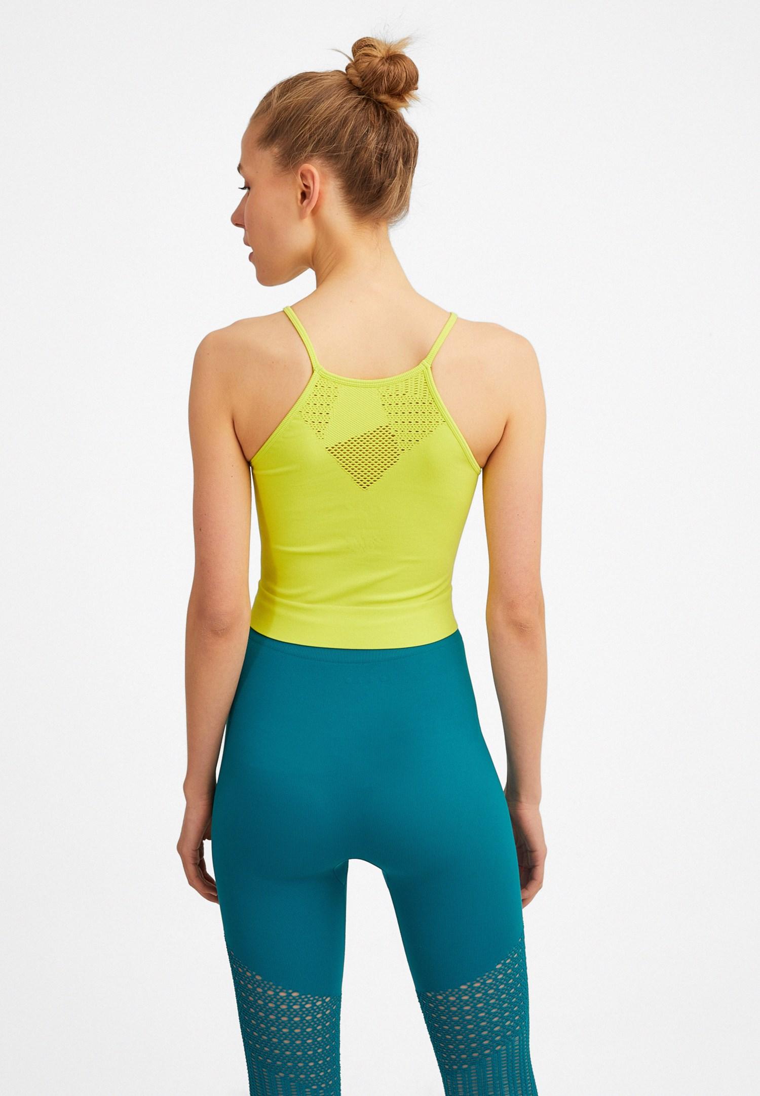 Bayan Yeşil Dikişsiz İnce Askılı Atlet