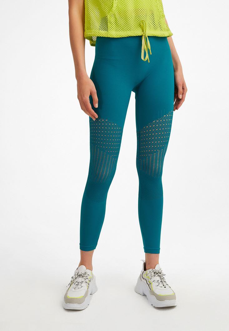 Blue Knee-Detailed High Waist Leggings